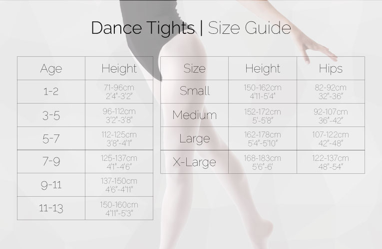 dance tights size chart