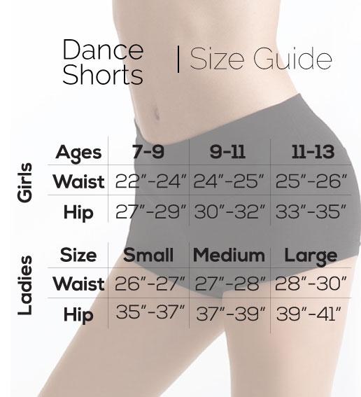 Size guide Silky Dance shorts